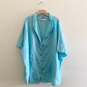 Flax Linen Sea Foam Blue Button Down Shirt Size 2X